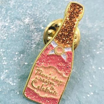 Lapel Pins - Celebration Champagne Bottle Lapel Pin