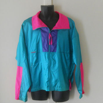 Neon Windbreaker / 80s Windbreaker Jacket / Retro 90s Jacket Snowboard Jacket Neon Ski Clothing Ski Clothes Mens Windbreaker Columbia Jacket