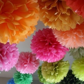 10 Tissue Poms Party Poms Weddings Decoration Pompom For Nursery Paper Decoration Party Decoration Poms Party Pompoms Tissue Paper Flower