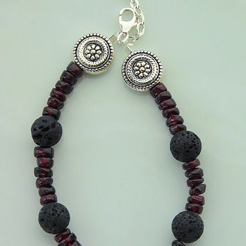 Lava Bead Bracelet - Evil Eye Bracelet - Garnet Gemstones - Black Lava Rock - Good Luck Charm - Gemstone Bracelet -OR- Choose your charm