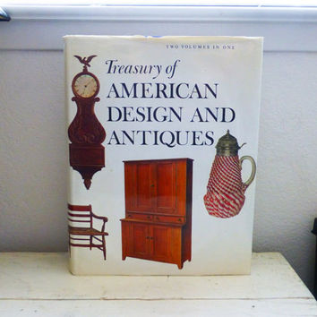 Book of antiques, reference book, american antiques, colonial style, vintage book, large book, hardcover, dust cover, instructional book