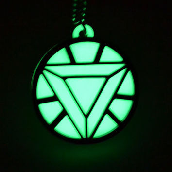 Iron Man Heart Arc Reactor Necklace - Mark 4 - Glow in the Dark Laser Cut Acrylic