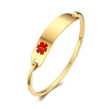 Woman's Jewelry Simple Elegant Stainless Steel Medical Alert ID Tag Bangle Bracelets -Red-Free Engraving