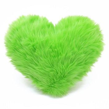 Lime Green Valentine Faux Fur Heart Shaped Decorative Pillow   Small Size