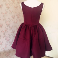 Burgundy dress Wine Dress. Fit and Flared Cocktail Dress. Vintage-inspired burgundy bridesmaid Dress in deep red