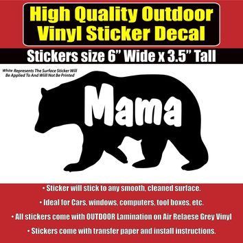 Mama Bear or Papa Bear Vinyl Car Window Laptop Bumper Sticker Decal