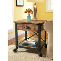 Walmart: Better Homes and Gardens Rustic Country Side Table, Antiqued Black/Pine
