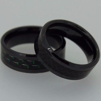 8mm Carbide Tungsten (Ceramic ) Ring Black Carbon Fiber inlay Wedding Band mens jewelry