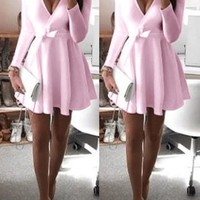 Pink Plain Pleated Plunging Neckline Long Sleeve Mini Dress