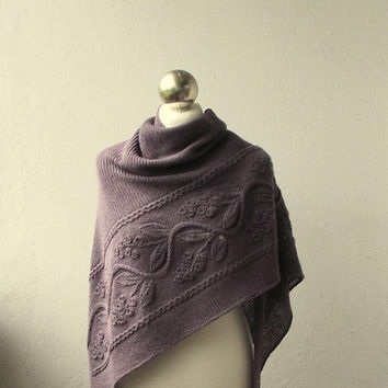 Greyish Violet hand knitted wool and alpaca shawl with floral pattern