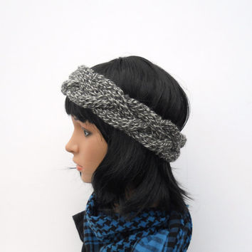 Cabled Earwarmer in Marled Grey and Ivory, Crown Style Winter Headband, Hand Knit Gray Ear Warmer in Cabled Crown Pattern, Boho Headband
