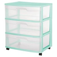 Sterilite® 3-Drawer Wide Cart - Aqua