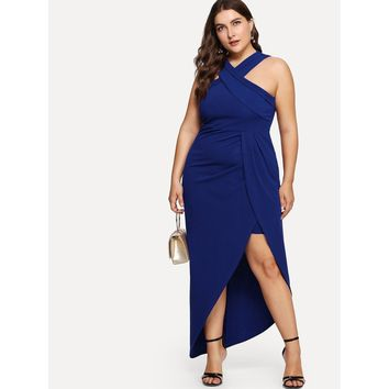 Plus Cross Halter Neck Wrap Dress Blue