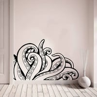 Wall Decal Vinyl Sticker Decals Art Home Decor Design Murals Octopus Tentacles Poulpe Delfish Fish Deep Sea Ocean Bedroom Bathroom AN648