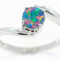 1 Carat Black Opal Round Ring .925 Sterling Silver Rhodium Finish White Gold Quality