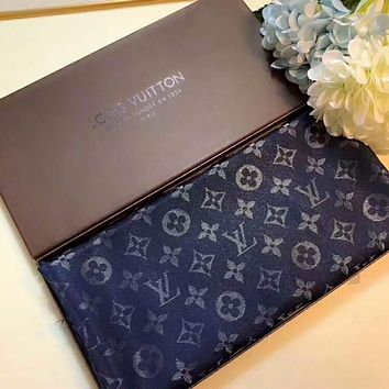 LV Louis Vuitton top quality square elegant silver pattern F-XLL-WJ blue
