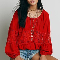 Stylish Scoop Neck Lace Splicing Long Sleeve Blouse For Women