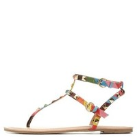 Multi Studded T-Strap Gladiator Thong Sandals by Charlotte Russe