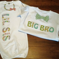 Big Brother Little Sister Matching Shirts ~ Little Sister Gown ~ Big Brother Shirt ~ Sibling Shirts ~ Necklace Onesuit