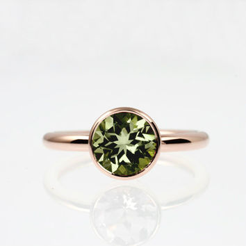 Peridot engagement, Rose gold, bezel, custom, engagement ring, gold wedding, Peridot wedding, Simple,  Green, yellow gold, solitaire