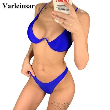 Sexy V-bar Underwired Bikini 2019 Female Swimsuit Women Swimwear Two-piece V shape Wire Bikini set Bather Bathing Suit Swim V439
