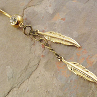 Gold Feather and Chain Belly Button Ring Jewelry by MidnightsMojo