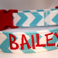 Personalized Custom Chevron Dog Collar- AQUA & WHITE