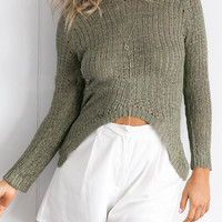 Asymmetrical Long Sleeve Knit Sweater