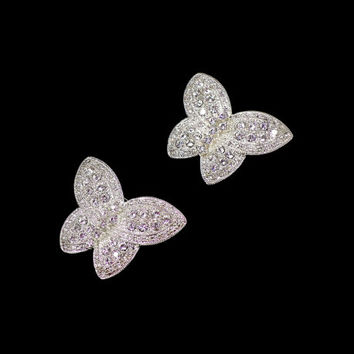 Set of 2 Rhinestone Butterfly Brooches, Silver Butterflies, Bridal Bouquet Sash, Rockabilly Concert, Gift For Butterfly Lover, Gift for Her