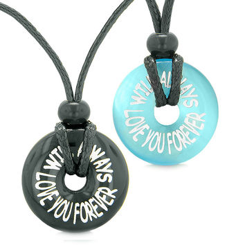 Will Always Love You Forever Love Couples or Best Friends Amulets Agate Blue Simulated Cats Eye Necklaces
