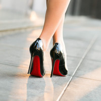 Pointed Red Bottom Leather Heels