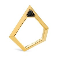 Pentagonal Ring with Swarovski - Gold | Elyona | Wolf & Badger