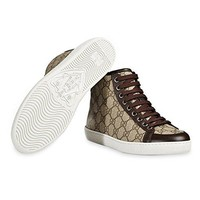 Gucci Women's GG Supreme Canvas High Top Trainer Sneaker, Beige/Ebony 323796