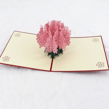 Love Card Romantic Cherry Blossom Tree Card 3D Handmade Paper Thanksgiving Mother's Day Letter Paper Wishing Love Wedding Card
