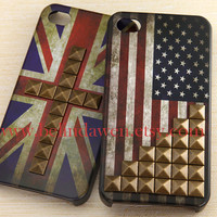 Vintage Flags studded iphone 4 case, America United States Flags studded iphone 4 case, Britain Flags iphone 4 case