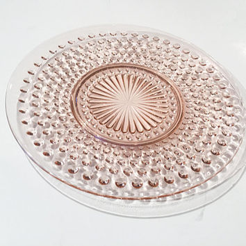 Pink Glass Hobnail Plate, Anchor Hocking Pink Depression Glass Plates