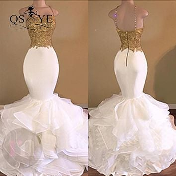 2017 Sexy White Mermaid Long Prom Dresses with Gold Lace Beaded Spaghetti Strap Ruffles Orgranza Formal Evening Dress Party Gown