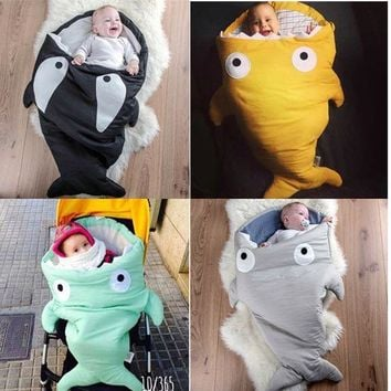 Newborn Baby Shark Mermaid Tail Blanket Children Bedding Infant Swaddle Kids Baby Soft Cotton Sleepbag Mermaid Tail Blanket Wrap