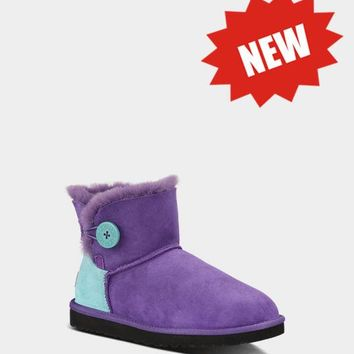 LFMON UGG 1004318 CONTRAST Women Fashion Casual Wool Winter Snow Boots Purple
