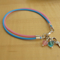 Pink and Blue Awareness Bracelet / Anklet -   SIDS, Birth Defects, CDH, FAS, Infant Loss, & More