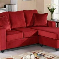 A.M.B. Furniture & Design :: Living room furniture :: Sofas and Sets :: Sectional Sofas :: Red Velvet Microfiber Reversible Chaise Apartment Size Sectional Sofa Set