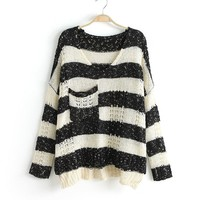Black & White Stripe Loose Sweater
