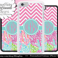 Monogram Ocean Pastels iPhone 5C 6 Case Chevrons 6 Plus iPhone 5s 4 case Ipod 4 5 Touch Cover Aqua Teal Pink Coral Personalized Custom
