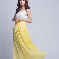 Floor Length Summer Skirt High Waist Maxi Skirts Beautiful Chiffon Long Skirt Pleated Waist Women Skirt (501) ,124#