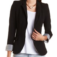 Black Single Button Boyfriend Blazer by Charlotte Russe