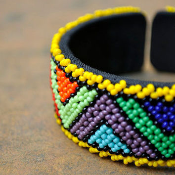 African Cuff Bracelet (African traditional, Multicolored, Yellow outline, Zigzag pattern)