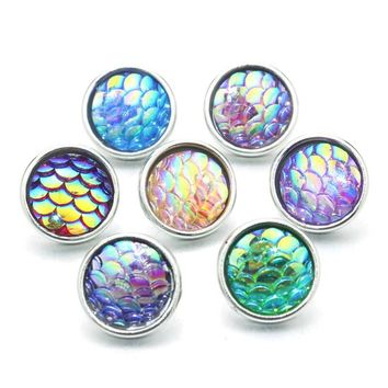 Mix Colors 10pcs/lot 12mm Resin Snaps Button For Women's Bracelet Metal Snap Bracelets 12mm Wholesale Lots 9306
