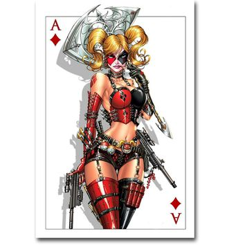 NICOLESHENTING Harley Quinn Suicide Squad Superheroes Art Silk Fabric Poster Print 13x20 24x36 inch Movie Picture Wall Decor 029