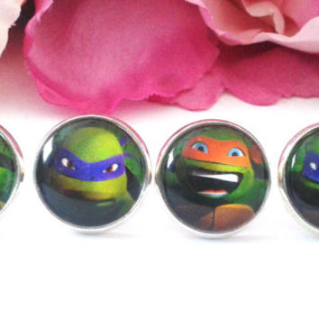 Ninja Turtle Stud Earring Set - Stud Earrings - Fake Plugs - Plugs - Faux Plugs - Cartoon Earrings - Cartoon Jewelry - 80's Cartoon