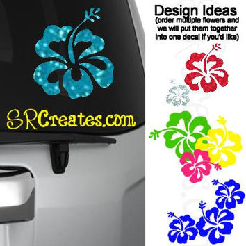 Hibiscus Flower Decal - Glitter, Neon or Colorful Glossy Vinyl!